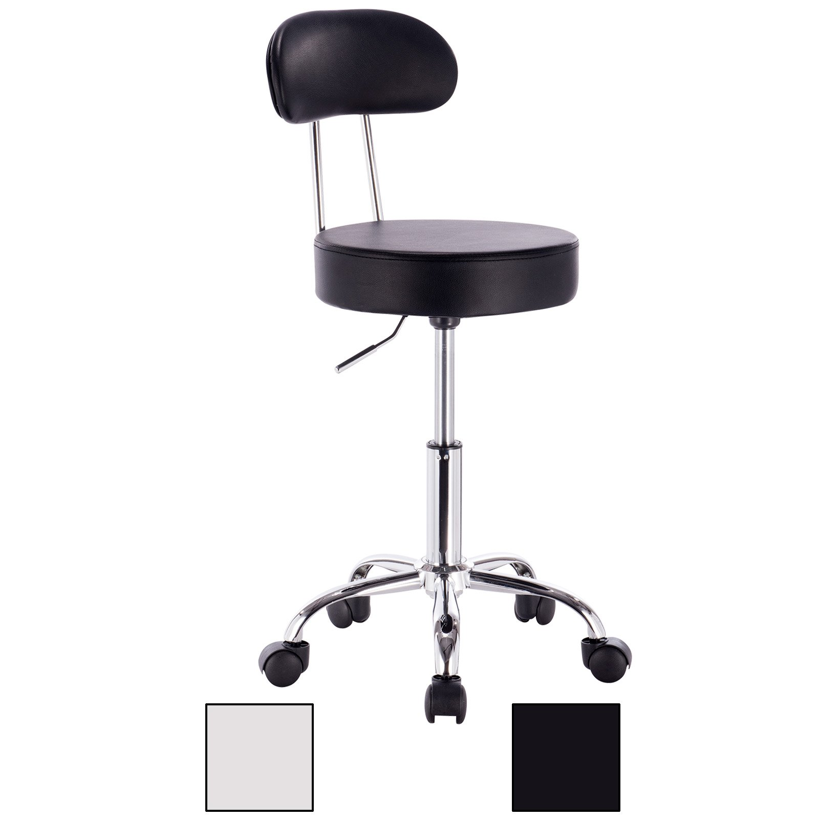 WOLTU ABSX1008blk-c 1x Faux Leather Adjustable Swivel Chair Stool with Backrest and Casters Hydraulic Gas Lift Office/Lab/Medical/Spa/Massage/Beauty/Pub Stool Seat Height:18.5''-23.2'',Black