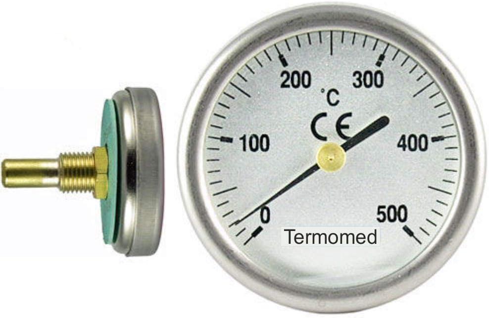 Termómetro para Puertas de Horno de leña, Escala de 0 a 500ºC, Vaina de 3 cm