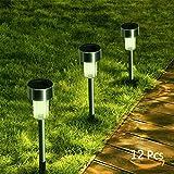 Solar Garden Lights Outdoor Solar Pathway Lights Kinna Stainless Steel Landscape Lighting for Lawn, Patio, Yard(Gunmetal) … (Gunmetal)