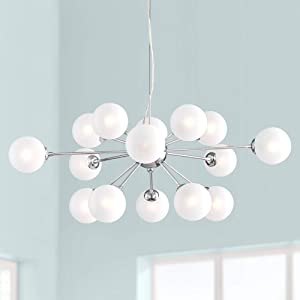 "Ramona Chrome Sputnik Large Chandelier 32"" Wide Modern Mid Century Frosted Glass LED 15-Light Fixture for Dining Room House Foyer Kitchen Island Entryway Bedroom Living Room - Possini Euro Design"
