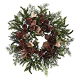 Nearly-Natural-24-in-Unlit-Pine-and-Pine-Cone-Wreath-with-Burlap-Bows
