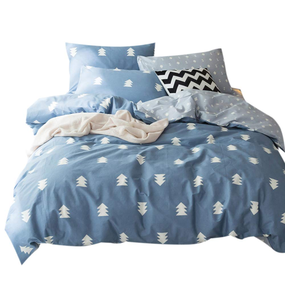 FenDie Home Bedding Collections Twin 3 Piece Blue Cover Set, Pine Tree Printed Forest Quilt/Comforter Cover with 2 Pillowcases, 100% Cotton