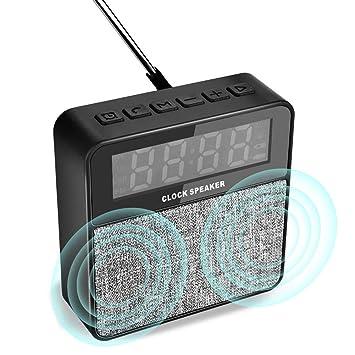 TinMiu Despertador Digital Altavoces Bluetooth Radio FM inalámbrica con Reloj Despertador Micrófono Incorporado Soporte Reproducción Bluetooth: Amazon.es: ...