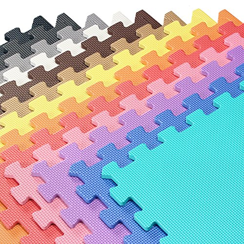 We Sell Mats Multipurpose Exercise Floor Mat with EVA Foam, Interlocking Tiles, Anti-Fatigue, for Home or Gym, 48 Square Feet (12 Tiles), 24 x 24 x 3/8 Inches, Light ()