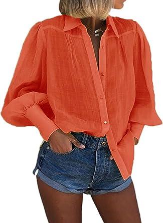 CORAFRITZ Camisa casual de manga larga abotonada de color ...