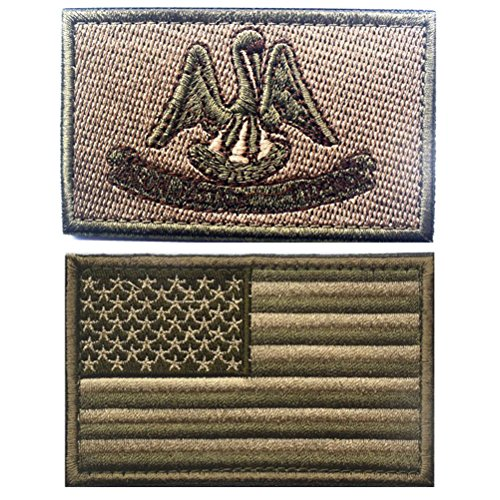 Embroidered USA Flag and LOUISIANA Flag Velcro Patch