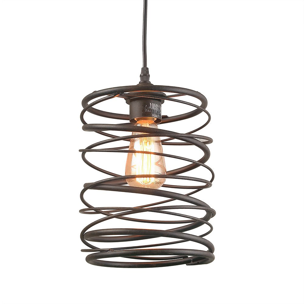 LNC 1 Contemporary Rust Cage Lighting Ceiling Pendant Fixtures, A03291