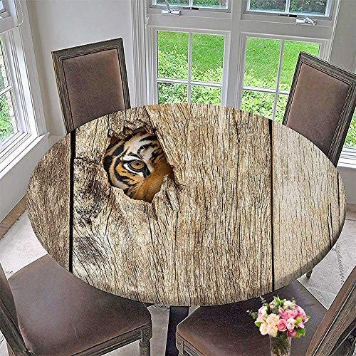 Mikihome Simple Modern Round Table Cloth Decor Siberian Tiger Eye Looking Through Wooden Peep Hole in Spy Predator Big for Daily use, Wedding, Restaurant 31.5