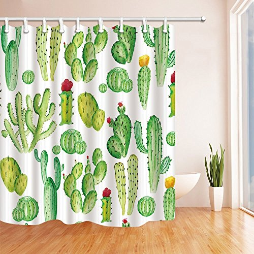 Green Plants Cactus Flower Mildew Resistant, Polyester Fabric Shower Curtain Set with Hooks, 72 Inches