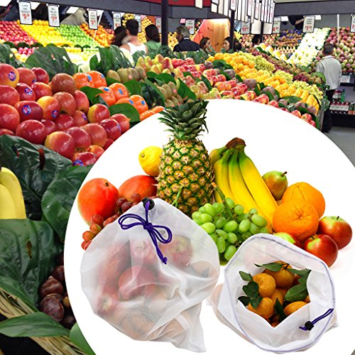 BTSKY Reutilizables Bolsas de Malla Sacos Lavables de Almacenamiento Respetuoso con el Medio Ambiente Bolsas de Cordón para Almacenar Frutos Verduras ...