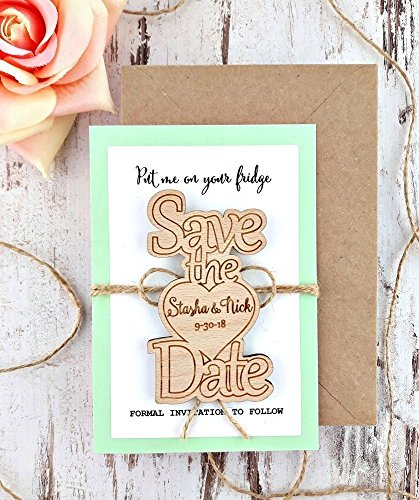 Wedding Wood Save-the-Date Magnet, Wood Magnet, Wooden Magnet, Save The Date Magnet, Wooden Save The Date Magnet, Rustic Save The Date]()