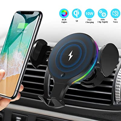 Wireless Car Charger Mount, KNGUVTH Auto Clamping Car Wireless Charger 10W 7.5W Qi Fast Charging Car Phone Holder Air Vent Compatible with iPhone 11 Pro Max Xs X XR 8+, Samsung S10 S10+ S9 S9+ S8 S8+ : Home Audio & Theater