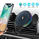 Wireless Car Charger Mount, KNGUVTH Auto Clamping Car Wireless Charger 10W 7.5W Qi Fast Charging Car Phone Holder Air Vent Compatible with iPhone 11 Pro Max Xs X XR 8+, Samsung S10 S10+ S9 S9+ S8 S8+ (Color: Black)