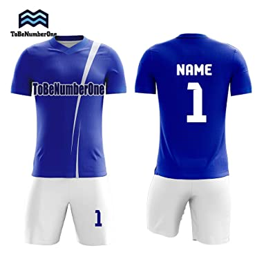 8f5560ce Custom Sublimated Football Jersey Numbers Personalise Your own Soccer Shirt  4style (S, Blue)