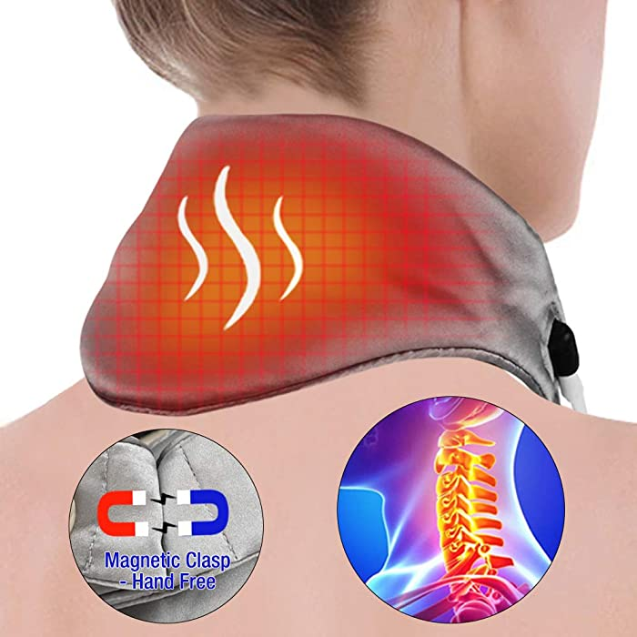 Heated Neck Wrap, ARRIS Neck Heating Wrap with Adjustable Time and Temperature Control, USB Cord Graphene Far-Infrared Therapy for Neck Pain Relief, Stiffness Relief or Postoperative Recovery