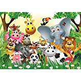 Non-woven Photo Wallpaper PREMIUM PLUS Wall Mural | 118.1'W x 82.6'H (300x210cm) | nursery, kids, jungle, Zoo, Animals, giraffes, lion, monkey, variocolored | no. 0013