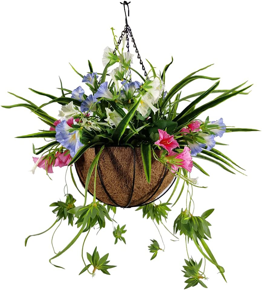 Huhu Ma Artificial Decorative Flower with Hanging Basket, Artificial Morning Glory, Chlorophytum, for Home Courtyard Balcony Porch Wedding Party Festival Decor (Color3)
