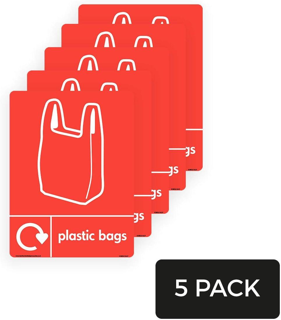 WRAP Bolsas de plástico recicladas con logotipo y logotipo de la bolsa de transporte, signos de producto – Paquete de 5, 1,5 mm, plástico rígido, 100 mm x 150 mm, A6