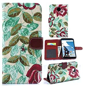Leather case for Nexus 6,Nexus 6 Leather Case,Nacycase Case Cover For Nexus 6,Flowers Design Book Style Design Flip Wallet Leather Case With Stand And Credit Card Slots Case Cover For Nexus 6 Case