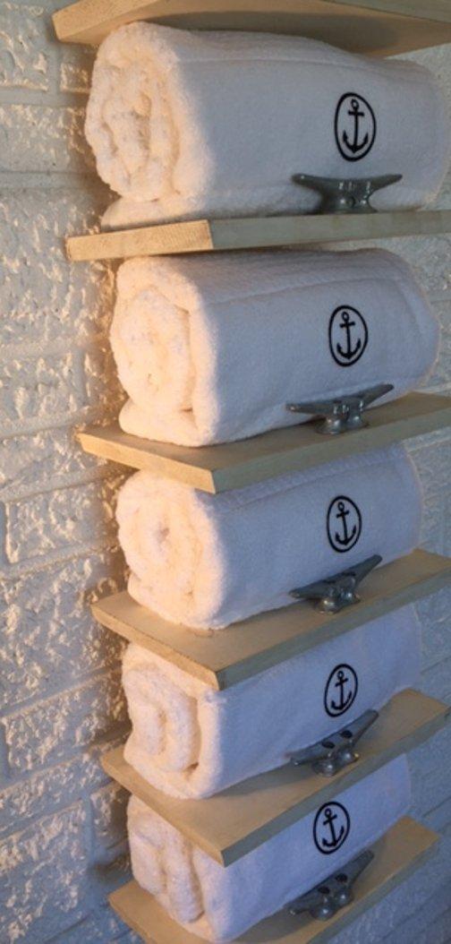 Nautical Towel Rack Luxury Coastal Décor by Beach Dweller Boutique