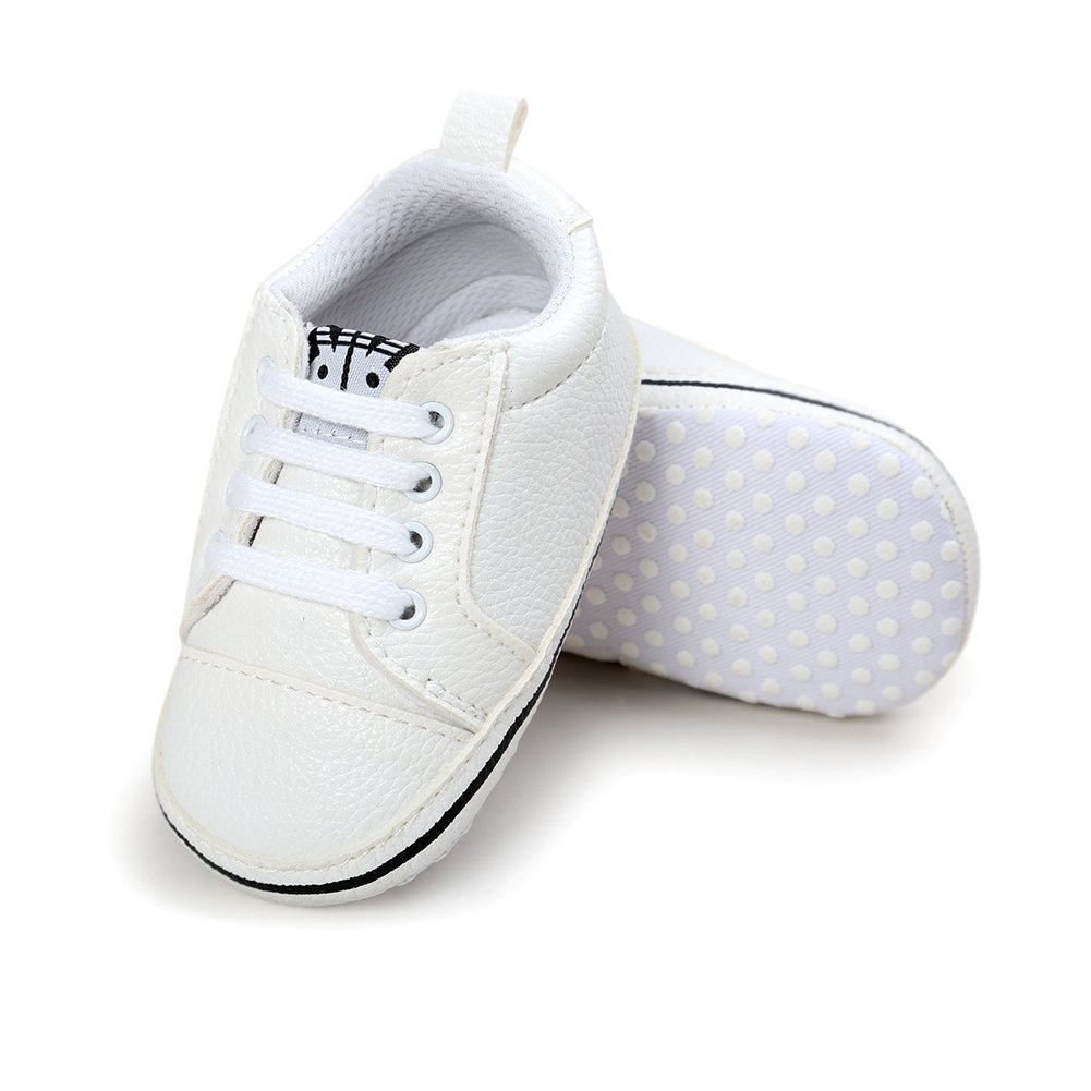 Baby Girls Lace-up Slip On White Round Toe Sneakers Walking Shoes Crib Shoes