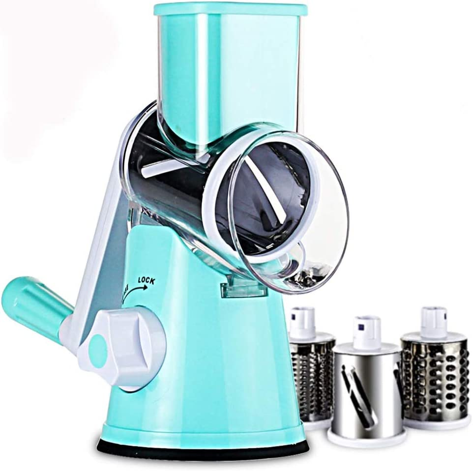 Rotary Cheese Grater - Round Drum Slicer Shredder Grinder - Hand Crank Mandoline for Vegetable, Food, Pecans, Carrots, Salad, Nut Chopper - 3 Stainless Steel Drums - Strong Suction Base (sky blue)