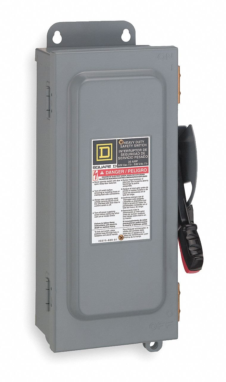 Safety Switch, 12 NEMA Enclosure Type, 30 Amps AC, 20 HP @ 600VAC HP