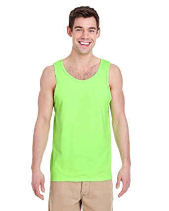5214963e2c Gildan Heavy Cotton Tank Top. 5200 Neon Green at Amazon Men's ...