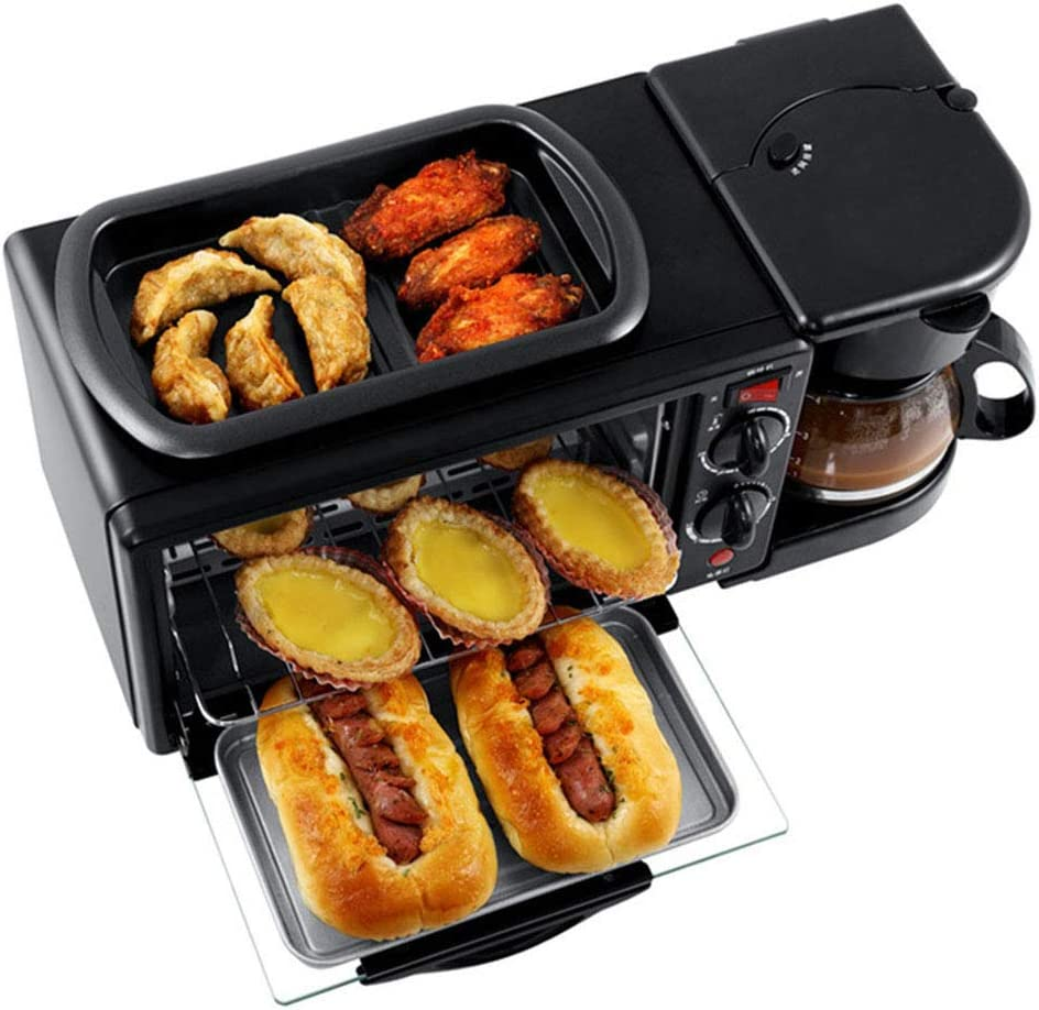 Beini Breakfast Machine Household Black Multi-Functional Breakfast Maker 3 in 1 Breakfast Machine, Non-Stick Griddle, Oven Tray,Coffee Maker