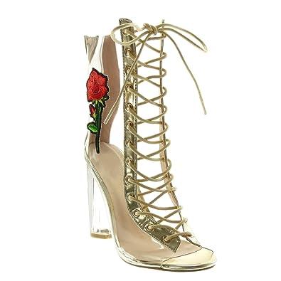 c9365f36021aa Angkorly - Chaussure Mode Bottine Peep-Toe Femme Transparent Lacets brodé Talon  Haut Bloc 11
