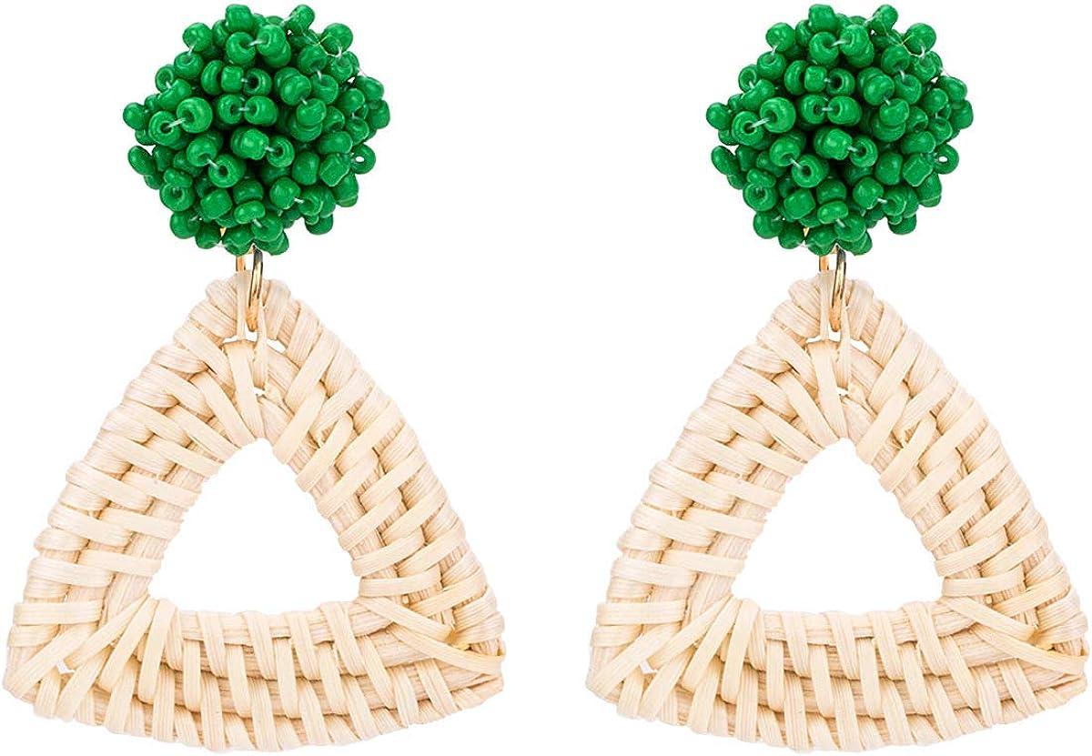 ZHEPIN Drop Earrings for Women Girls Handmade Rattan Earrings Gifts for Mom Sister Friends