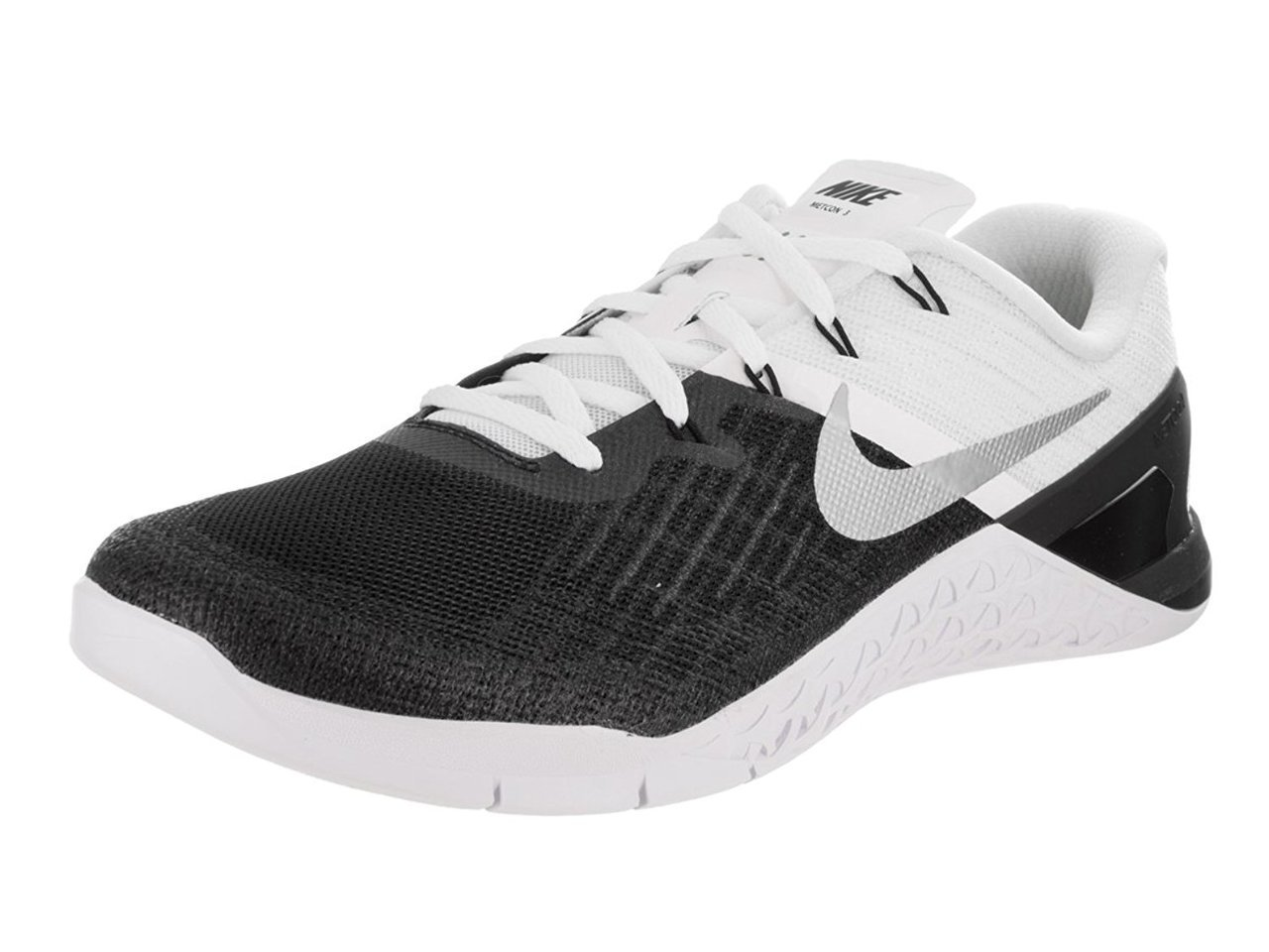 NIKE Mens Metcon 3 Cross Training Sneaker, Black/White/Metallic Silver, 11 D(M) US by NIKE