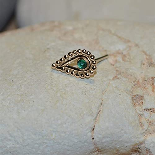203c71801 Image Unavailable. Image not available for. Color: 2mm Emerald TRAGUS STUD  // Gold Nose Ring Stud - Tragus Earring ...