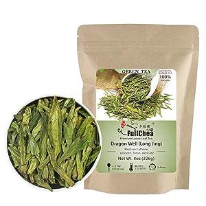 FullChea - Longjing Tea - Dragonwell Tea - Chinese Green Tea Loose Leaf - First Grade - Natural Lung Ching Dragon Well - 8oz / 226g