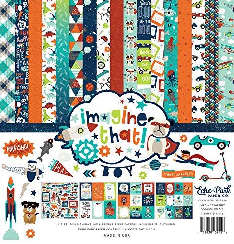 Echo Park Paper Company Imagine That Boy Collection Kit, -