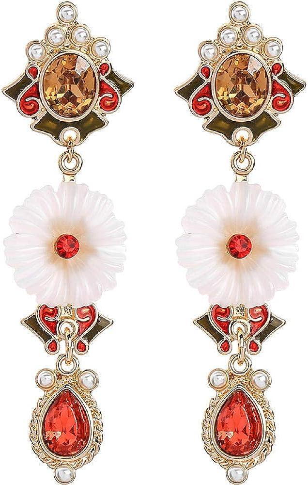 Elegantes pendientes de flores aguja de plata s925 perla aceite de goteo aleación clásica piedras preciosas sintéticas pendientes de mujer