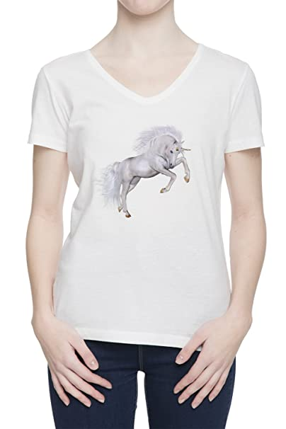 Unicornio V Cuello Camiseta Para Mujer Blanca Todos Los Tamaños | Womens White V Neck T
