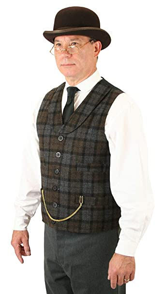 Men's Vintage Vests, Sweater Vests Historical Emporium Mens Wool Blend Paulson Plaid Dress Vest $72.95 AT vintagedancer.com