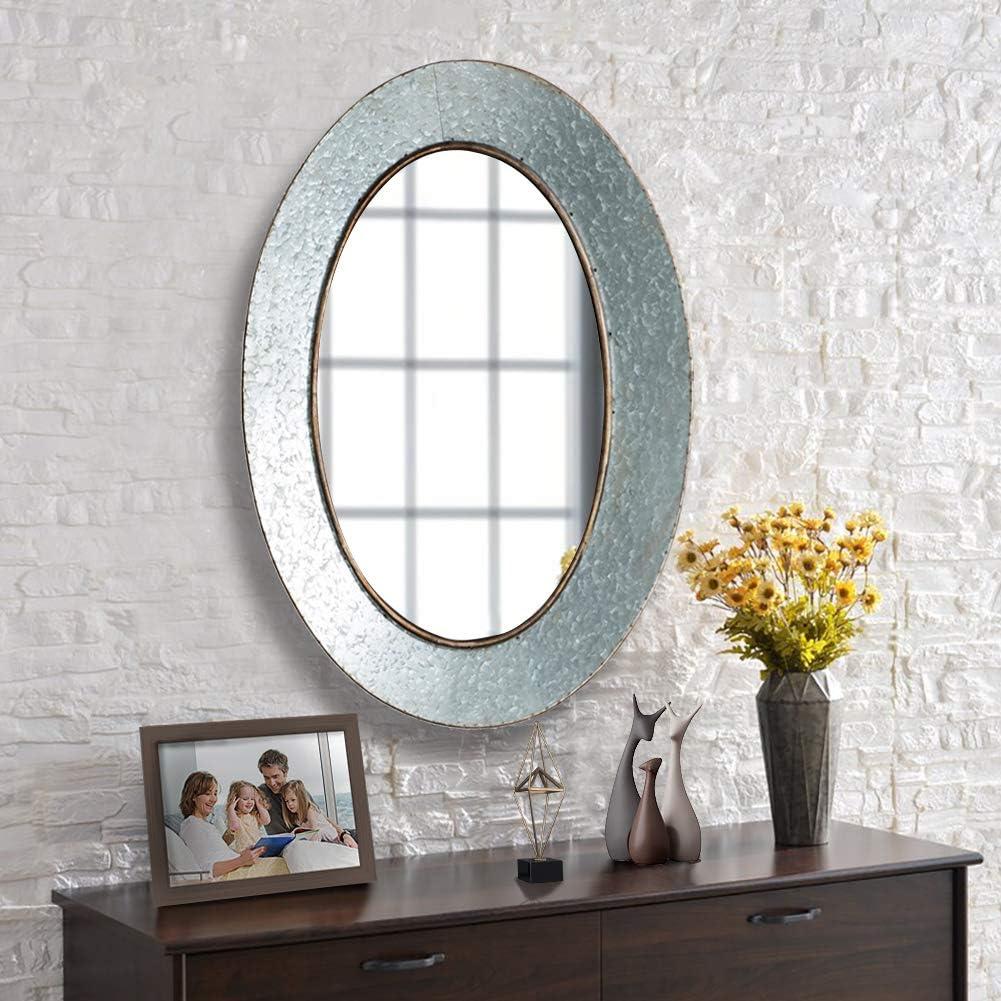 FENORI Oval Rustic Mirror - 27.6 x 19.7 Inch Galvanized Mirror for Wall Farmhouse Industrial Mirror for Entryway, Living Room, Bedroom or Hallway