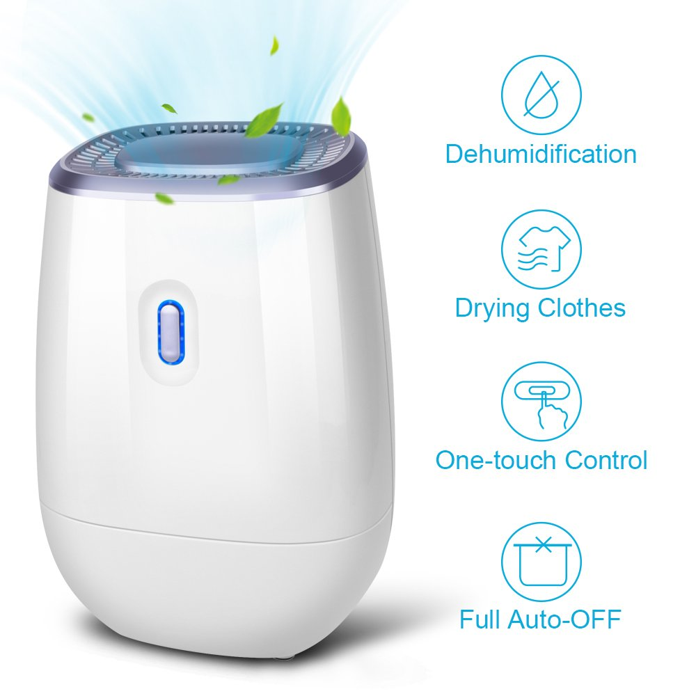 air choice Dehumidifier - 41oz Capacity Electric Dehumidifier Portable Mini Air Dehumidifiers Auto Quiet up to 220 sq ft Anti Overflow Dehumidifier for Home Bathroom Bedroom Closet Office Basement