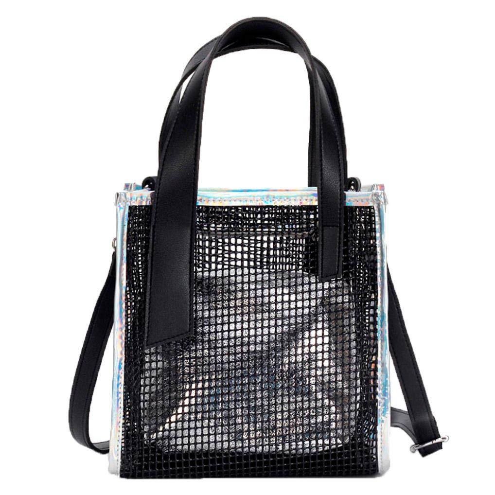 Bolayu Fashion Women Shoulder Bag Clear Skeleton Tote Shoulder Crossbody Bag Girls Bag Handbags (Silver)