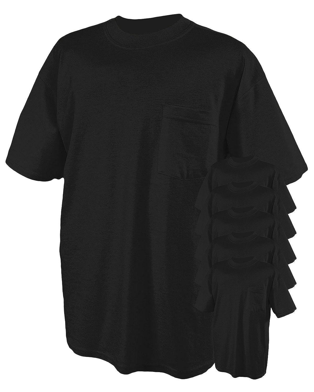 50//50 Heavyweight Blend Pocket T-Shirt Jerzees 5.6 oz. Pack of 6- BLACK,XL 29P