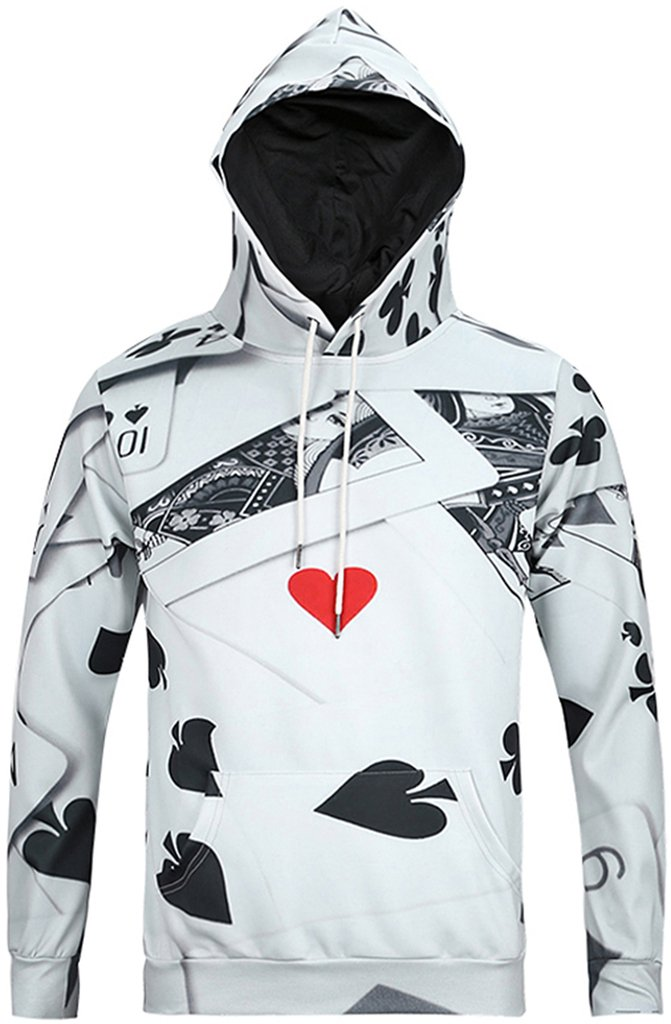 Pizoff Mens Womens Casual Funny Poker Card Print Pullover Hoodie Sport Coat Long Sleeve With Front Pocket Y1760-01-XL