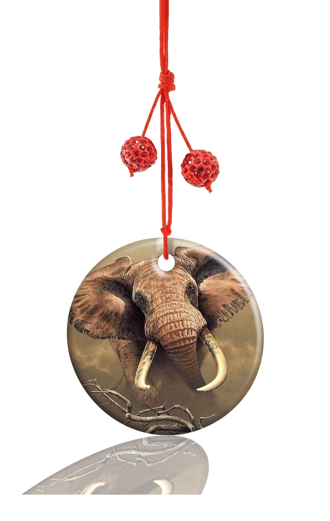 Youroom Animal Elephant Custom Round Porcelain Jewelry Ceramic Crafts Christmas Home Decoration Gift by Youroom (Image #1)