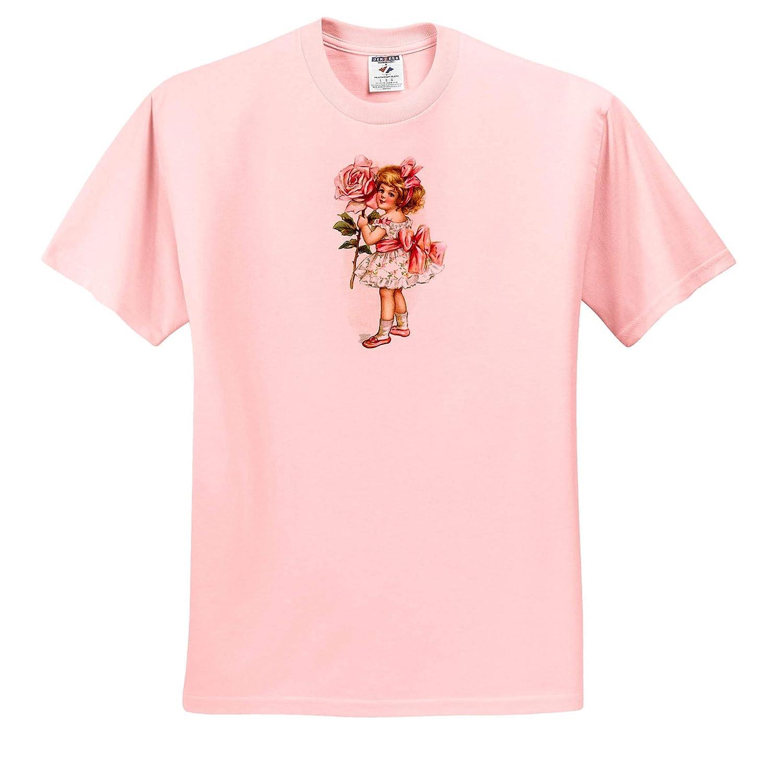 Girls T-Shirts 3dRose VintageChest Charming Girl with Pink Roses Frances Brundage