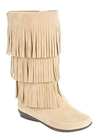 Amazon.com: Comfortview Women's Sherry Wide Calf Fringe Boot: Clothing