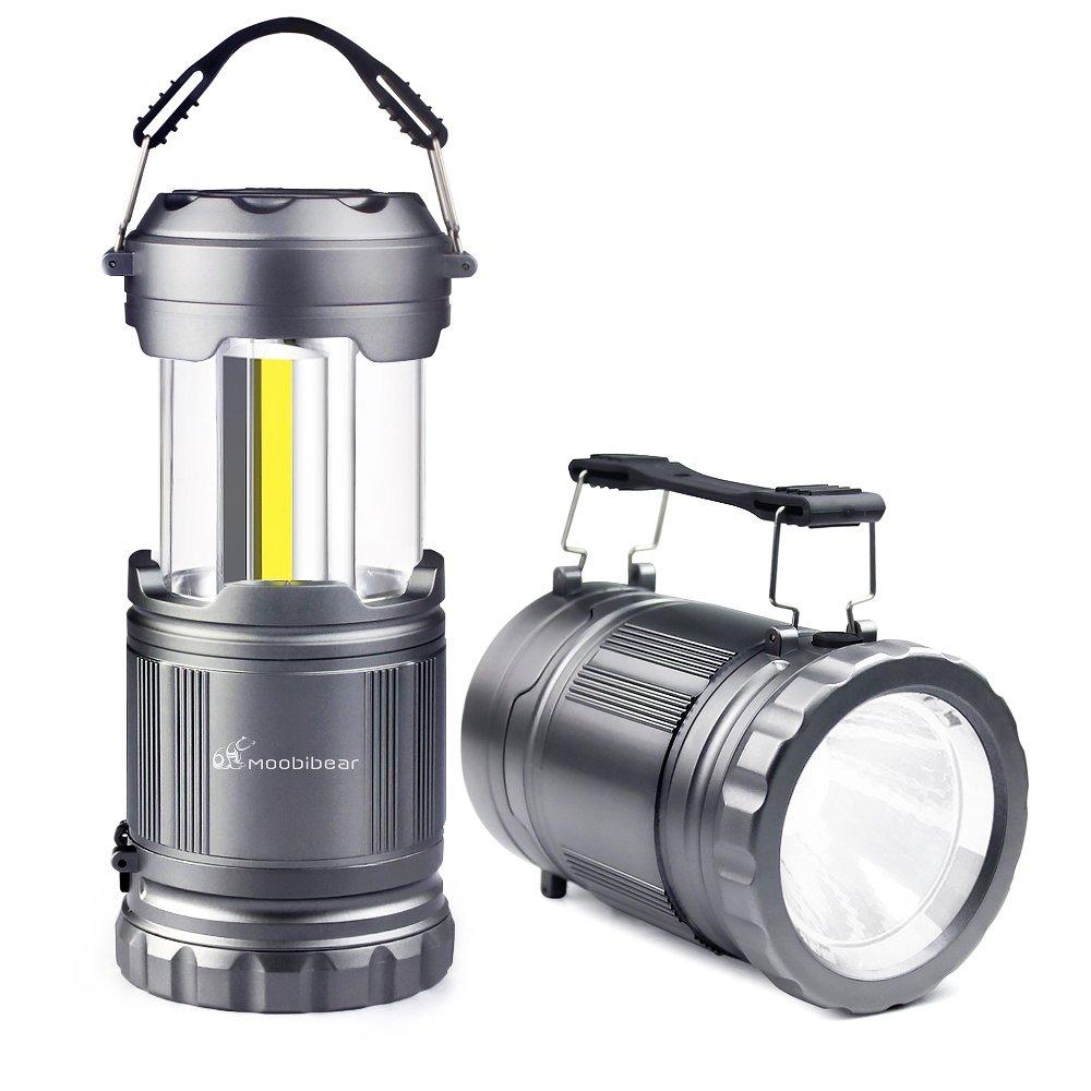 LED Camping Flashlight Lanterns Combo- Moobibear 2-In-1 Portable Tac Lantern Handheld Flashlights, Battery Powered Water Resistant Collapsible Lantern for Night Fishing, Hiking, Emergencies, 2 Pack by Moobibear