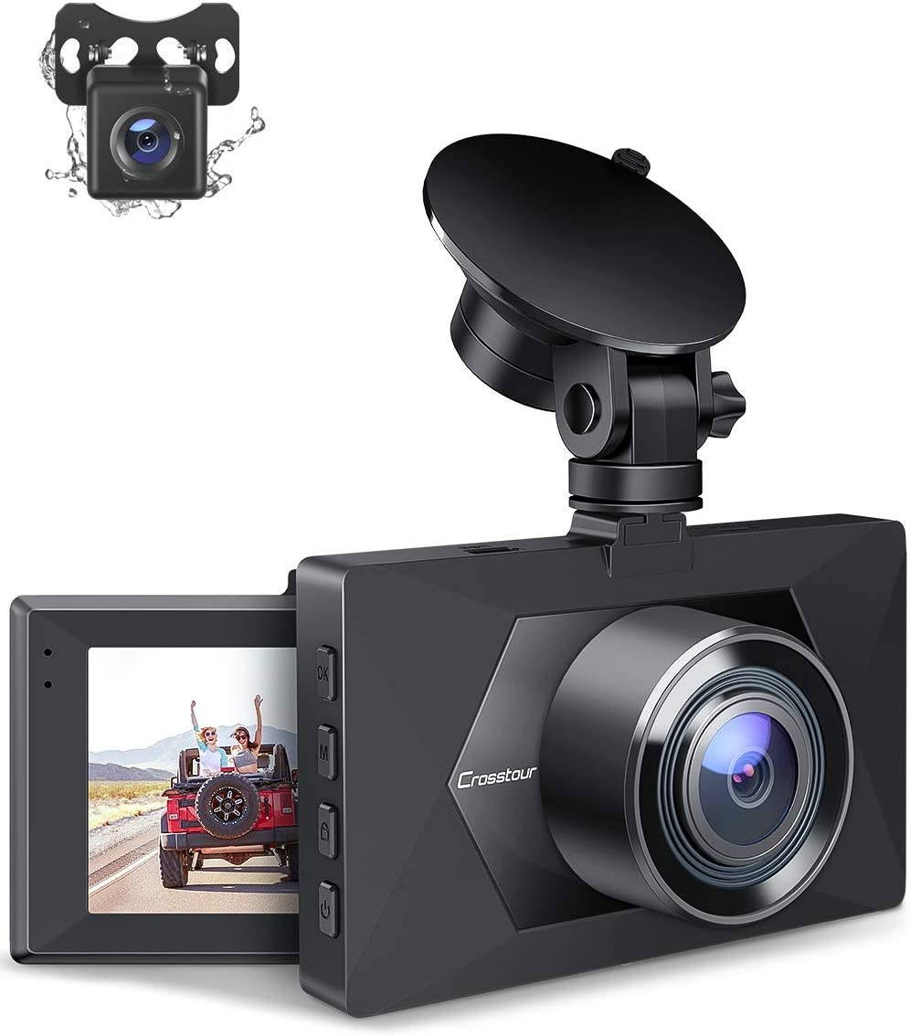 Crosstour Dual Dash Cam, Front and Rear Camera for Cars 1080P, Car Driving Recorder with 170°Wide Angle, Loop Recording, WDR, Motion Detection, G-Sensor and Parking Monitor(CR350S)