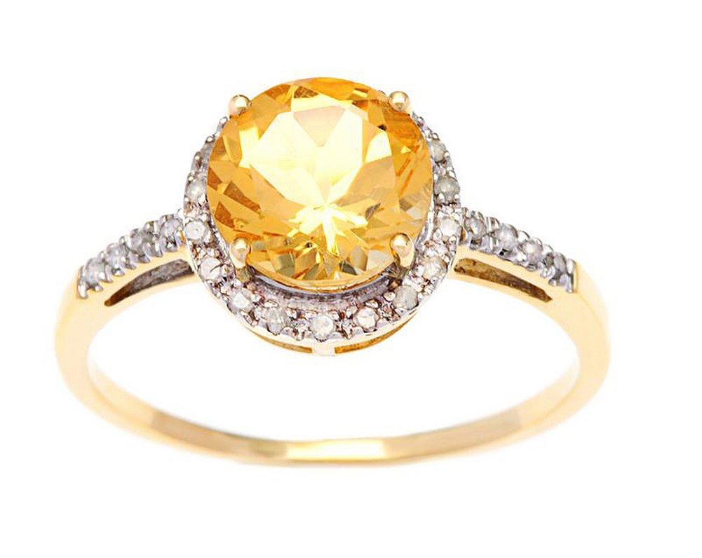10k Yellow Gold Round Citrine and Diamond Halo Ring