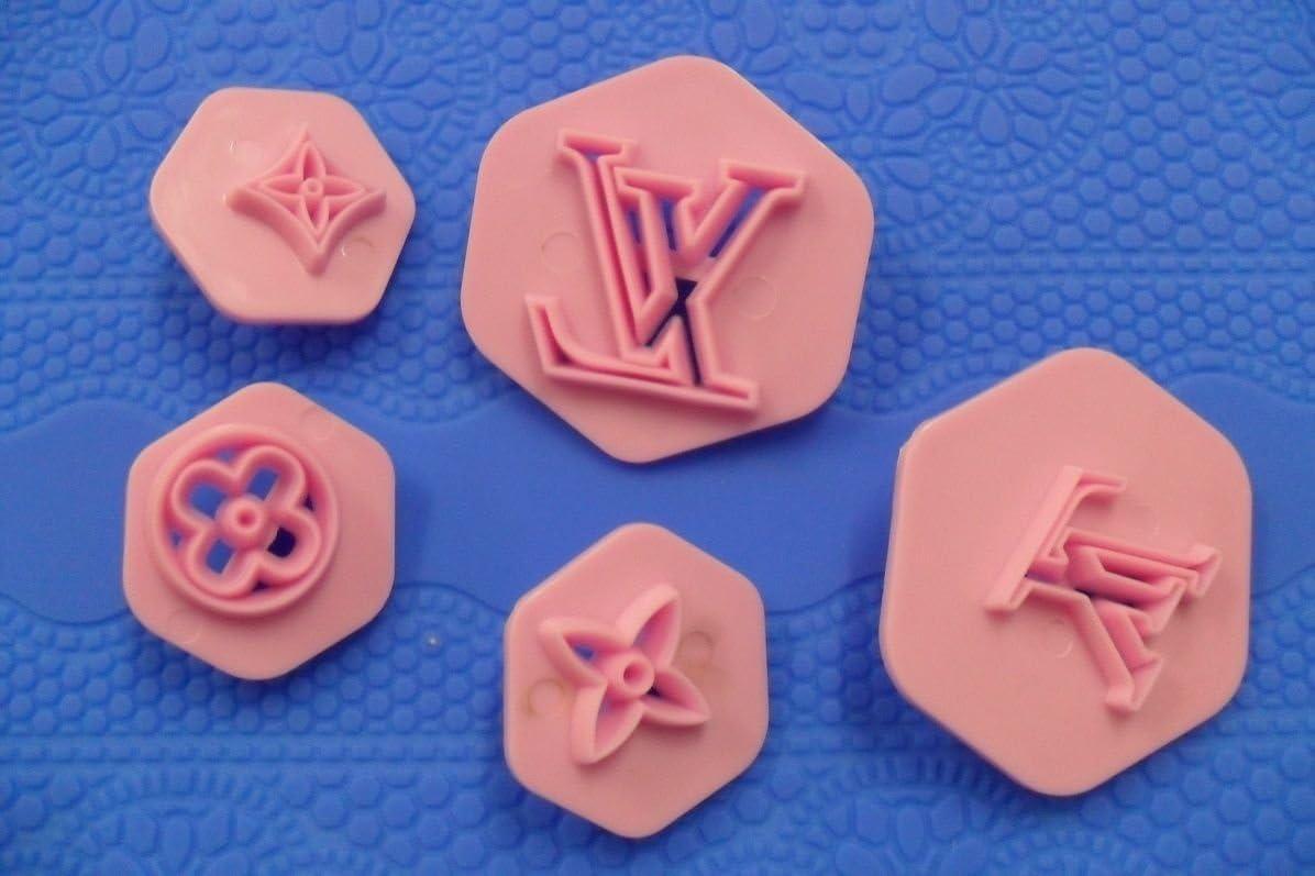 """5 Petits Embosseurs Gateau Empreinte Logo de /""""Marque/"""" Pate d/'Amande Pate a Sucre"""
